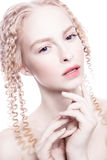Portret van geheimzinnige albinovrouw Royalty-vrije Stock Afbeelding