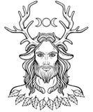 Portret van gehoornde god Cernunnos stock illustratie