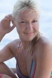 Portret van gelooide vrouw Stock Foto