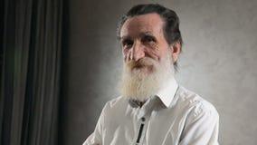 Portret van Gelukkig Bejaarde stock video