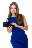 Portret van gelukkig meisje in een blauwe kleding Royalty-vrije Stock Afbeeldingen