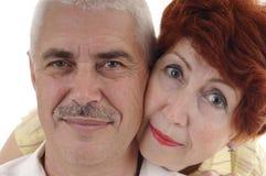 Portret van gelukkig seniourpaar Stock Foto