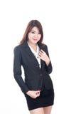 Portret van gelukkige jonge slimme bedrijfsvrouw Royalty-vrije Stock Afbeelding
