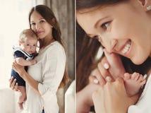 Portret van gelukkige moeder en baby Stock Afbeelding