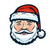 Portret van Gelukkige Santa Claus Kerstmis of nieuw jaarsymbool De vectorillustratie van het beeldverhaal stock illustratie