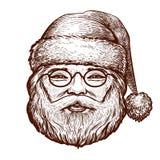 Portret van gelukkige Santa Claus, schets Kerstmis, groetkaart Uitstekende vectorillustratie stock illustratie