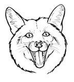 Portret van gelukkige Vos, grafische zwart-wit Stock Foto