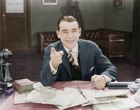 Portret van gelukkige vriendschappelijke zakenman (Alle afgeschilderde personen leven niet langer en geen landgoed bestaat Levera Royalty-vrije Stock Fotografie