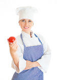 Portret van gelukkige vrouwelijke chef-kokkok Royalty-vrije Stock Afbeeldingen