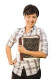 Portret van Gemengde Ras Vrouwelijke Student Holding Books Isolated Stock Afbeeldingen