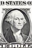 Portret van George Washington op één dollarbankbiljet Stock Afbeelding