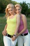 Portret van glimlachende aantrekkelijke blonde twee royalty-vrije stock afbeelding