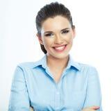 Portret van glimlachende bedrijfsvrouw, op witte achtergrond stock fotografie