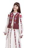 Portret van Glimlachende Donkerbruine Dame Posing in Nationaal Bloemrijk Cos. stock afbeelding