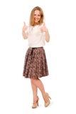 Portret van glimlachende jonge mooie vrouw in een lichte blouse en Royalty-vrije Stock Foto