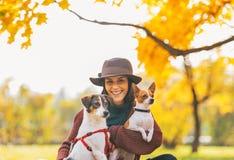Portret van glimlachende vrouw met honden in openlucht in de herfst Stock Afbeeldingen