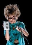 Portret van grappig weinig elektricien stock fotografie