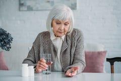 portret van grijze haarvrouw stock afbeeldingen