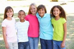 Portret van Groep Kinderen die in Park spelen stock afbeeldingen