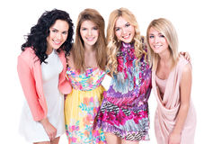 Portret van groeps jonge mooie glimlachende vrouwen stock afbeelding