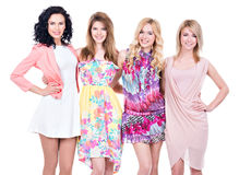 Portret van groeps jonge mooie glimlachende vrouwen royalty-vrije stock afbeelding