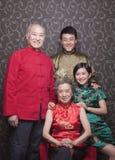 Portret van grootouders en volwassen kleinkinderen in traditionele Chinese kleding royalty-vrije stock foto's