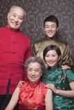 Portret van grootouders en volwassen kleinkinderen in traditionele Chinese kleding stock foto