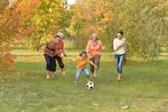 Portret van grote gelukkige familie speelvoetbal in park royalty-vrije stock afbeeldingen