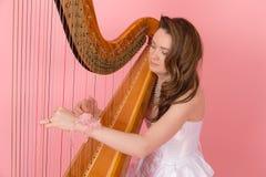 Portret van harpist Stock Foto's