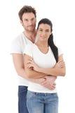 Portret van het aantrekkelijke jonge paar glimlachen Stock Afbeelding