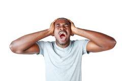 Portret van het Afrikaanse mens schreeuwen Stock Afbeeldingen