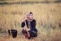Portret van het Aziatische meisje van het land royalty-vrije stock fotografie