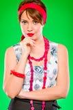Portret van het charmeren van meisje. Speld omhoog en retro stijl Royalty-vrije Stock Foto's