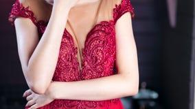 Portret van het charmeren van verleidelijke jonge donkerbruine vrouw die verbazende avond elegante kleding tonen stock video
