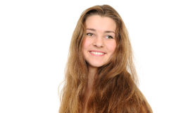 Portret van het gelukkige meisje met lang haar Stock Afbeelding