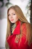 Portret van het gelukkige meisje spelen met sneeuw Stock Fotografie