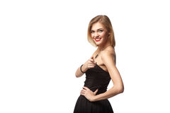 Portret van het glimlachen bedrijfsvrouw status met gevouwen handen ov Royalty-vrije Stock Fotografie