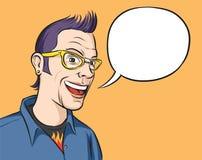 Portret van het glimlachen geek met toespraakballon Royalty-vrije Stock Afbeeldingen