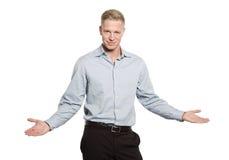 Portret van vriendschappelijke jonge zakenman. royalty-vrije stock fotografie