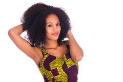 Portret van het Jonge Afrikaanse Vrouw Glimlachen Stock Afbeeldingen