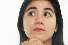 Portret van het Jonge Aziatische Vrouw Denken royalty-vrije stock foto