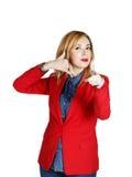 Portret van het jonge bedrijfsvrouw tonen die handteken tonen als Royalty-vrije Stock Foto