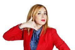Portret van het jonge bedrijfsvrouw tonen die handteken tonen als Stock Fotografie