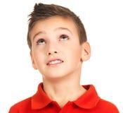 Portret van het jonge jongen omhoog kijken Stock Afbeeldingen