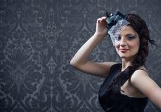Portret van het jonge meisje in hoed met sluier. Royalty-vrije Stock Foto's