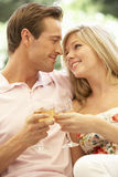 Portret van het Jonge Paar Ontspannen op Sofa Drinking Wine Together Royalty-vrije Stock Afbeelding