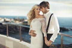 Portret van het jonge romantische huwelijkspaar Royalty-vrije Stock Afbeelding