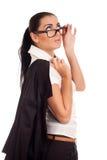 Portret van het jonge vrouw kijken over glazen Royalty-vrije Stock Afbeeldingen