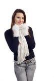 Portret van het jonge vrouw koud voelen Stock Foto