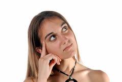 Portret van het jonge vrouw stijgend kijken stock fotografie